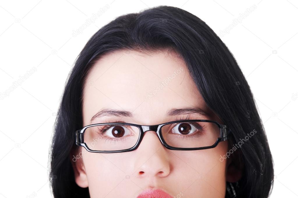 visage de femme avec des lunettes. découper — Photographie ... 72ade23e8a31