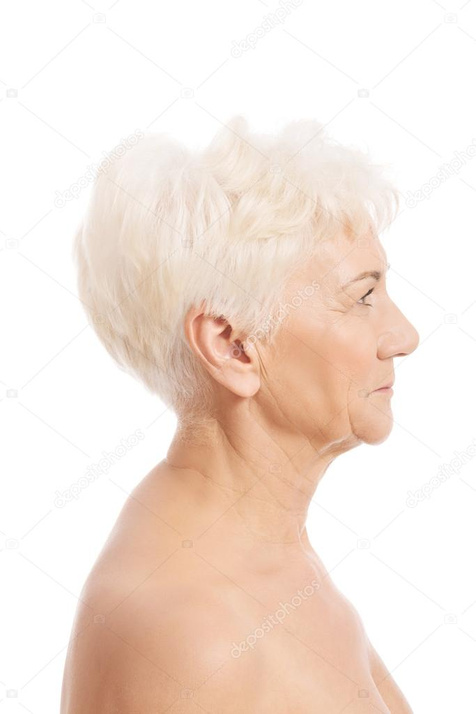 Naakte oude vrouw