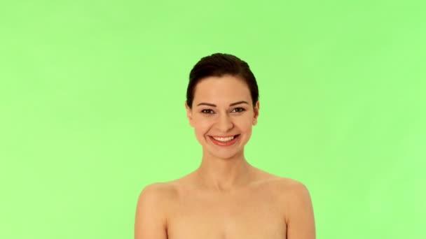 fiatal nő, gyönyörű mosoly