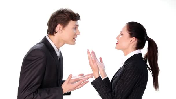 Businessman arguing with businesswoman. Over white background.