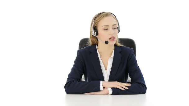 Smiling young beautiful business woman at call center