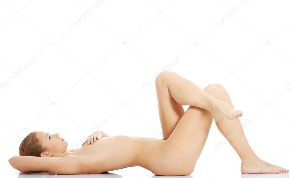 Naked women lying down from behind