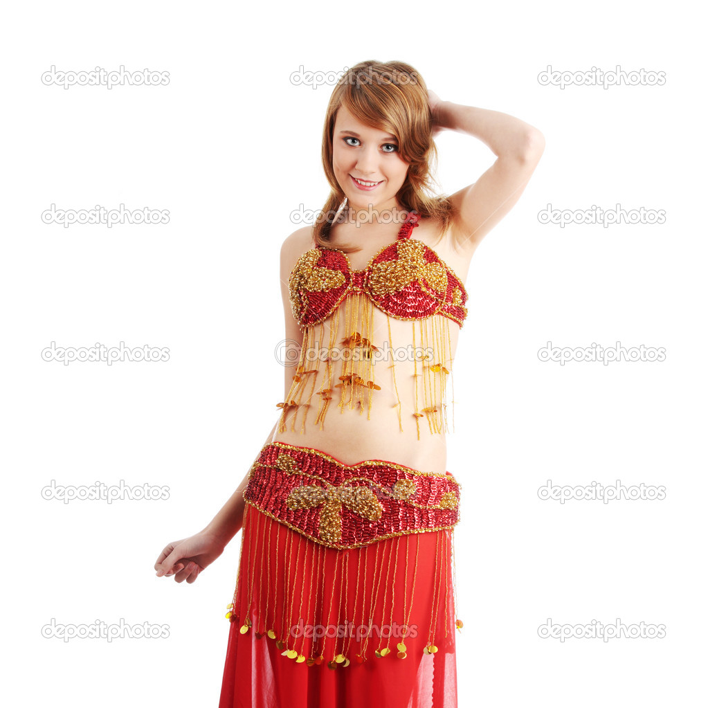 ac874419b45be Teen girl in belly dancer costume dancing, isolated on white background —  Photo by ...