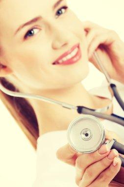Caucasian doctor or nurse