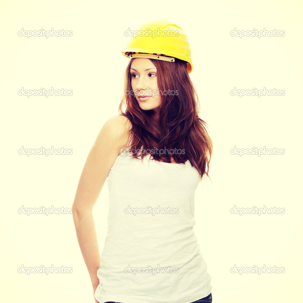ee37b253730 Engineer woman in yellow helmet — Stock Photo © piotr marcinski ...