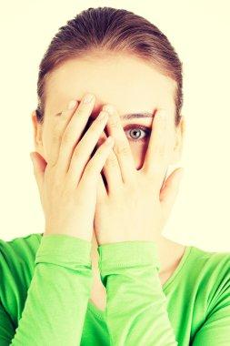 Scared teenage girl