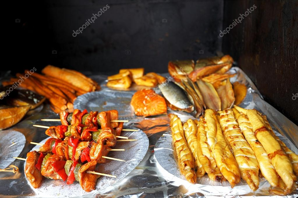 Own home smokehouse and delicious marine fish, healthy food