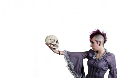 Beautiful Woman holding a skull
