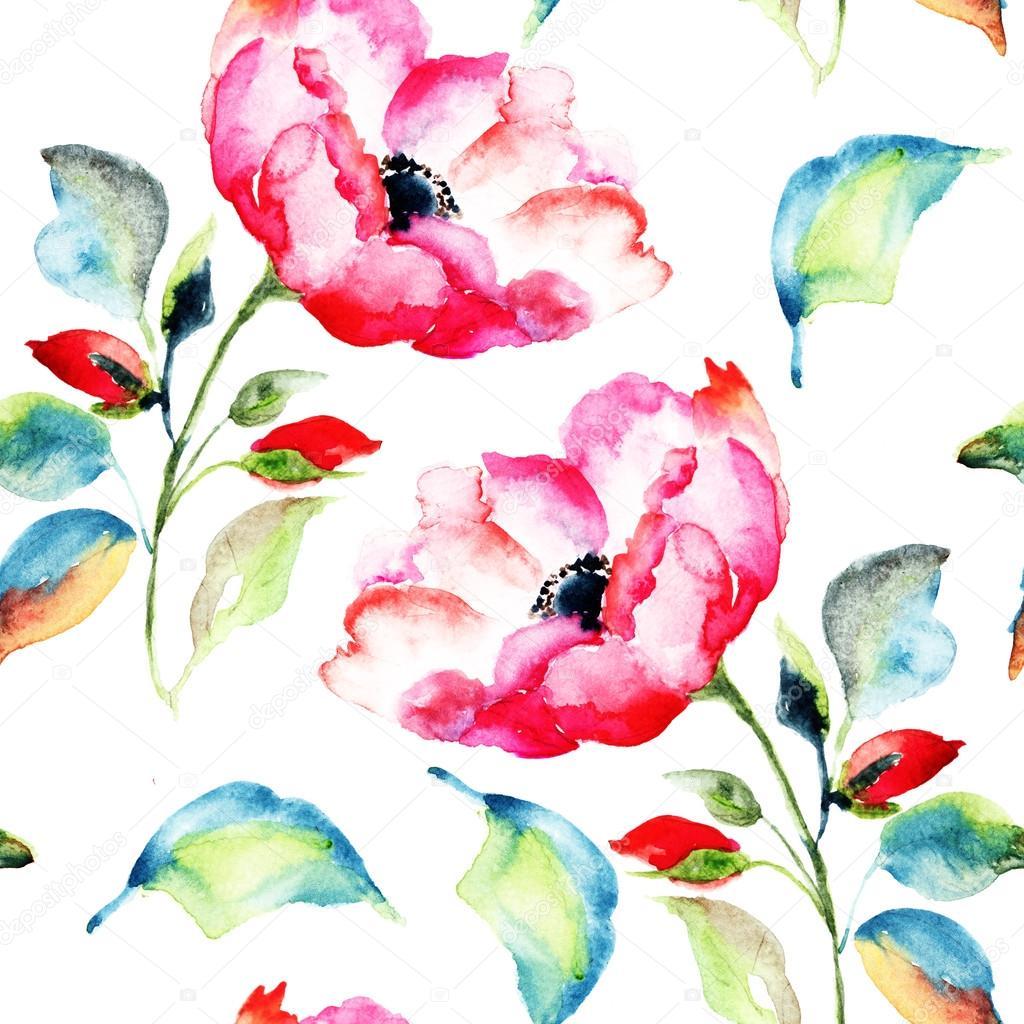 Rosehip Flower, seamless pattern