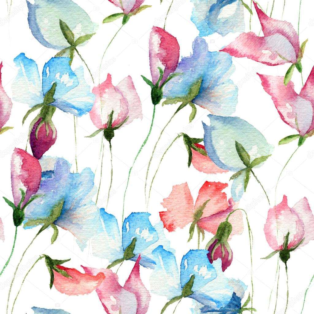 seamless wallpaper with sweet pea flowers — stock photo © jershova