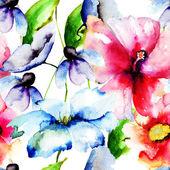 Fotografie schöne Blumen, Aquarellzeichnung