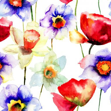 Stylized Narcissus and Poppy flowers illustration