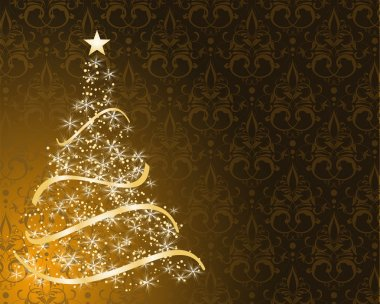 Stylized Christmas tree on decorative damask background