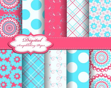 Set of flower vector paper for scrapbook