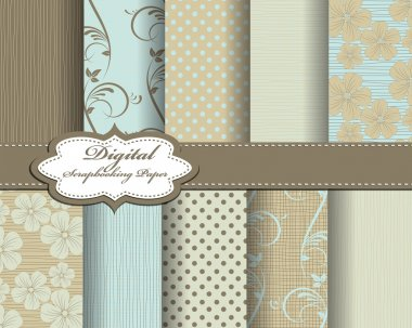 Set of vector flower pattern paper for scrapbook