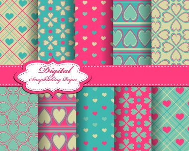 set of vector Valentines day paper for scrapbook