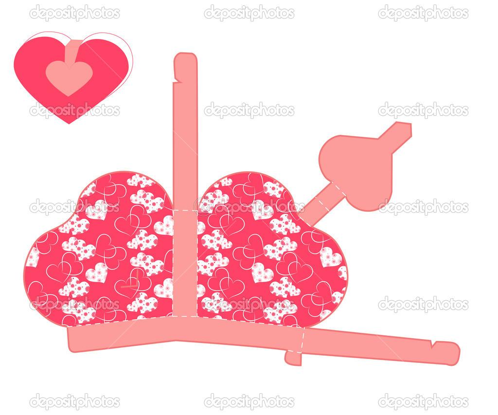 Vektor stilisierte Valentinstag-Box mit Herz leere Vorlage ...