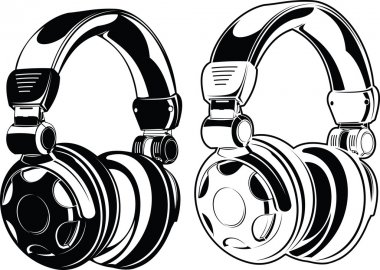 Headphones. One Color Drawings.