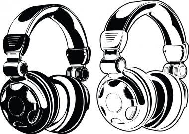 Headphones. One Color Drawings.