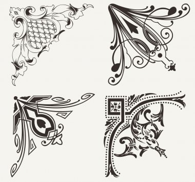 Set Of Four Hogh Ornate Corners. Elements Of Design.