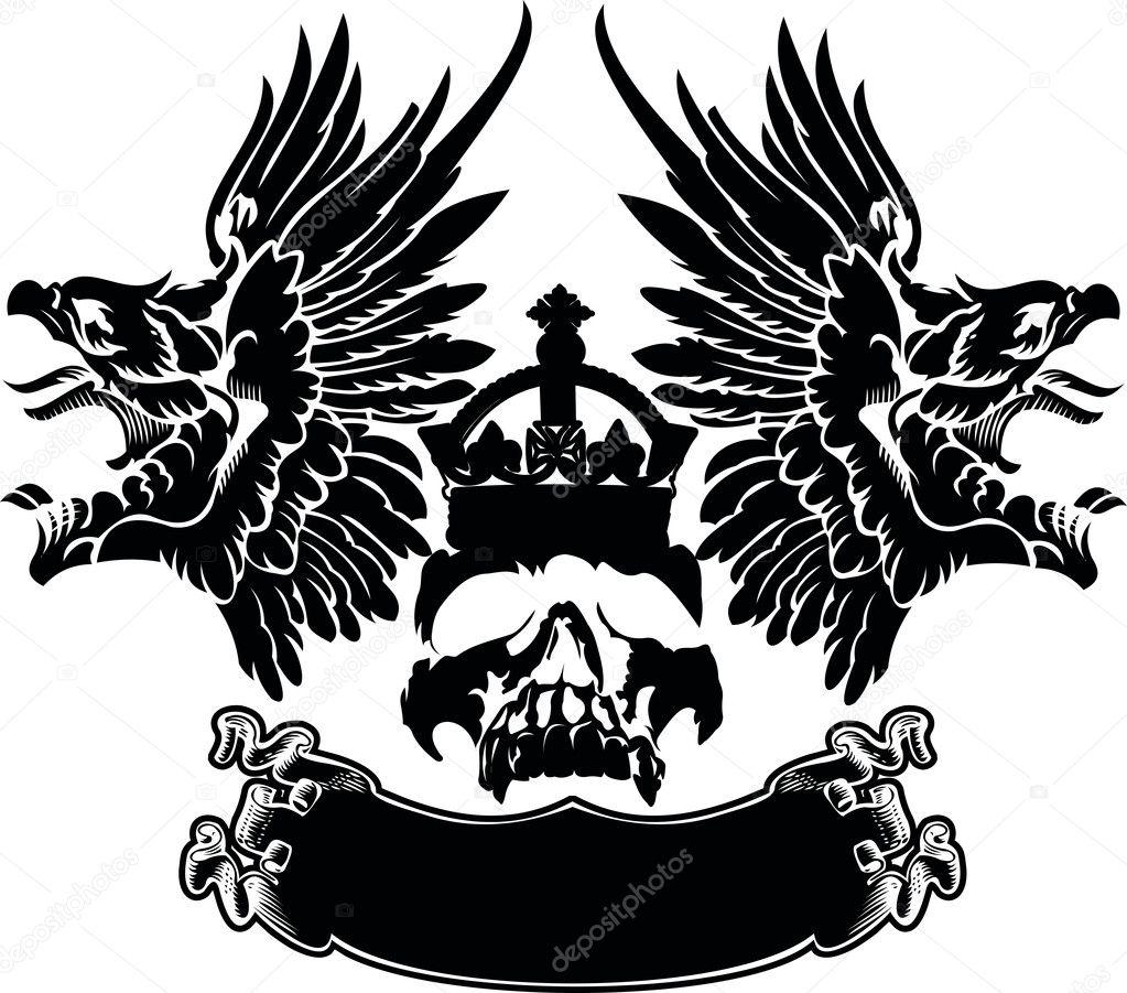 Vector Aguila Azteca Un Color águila Alas Calavera Símbolo