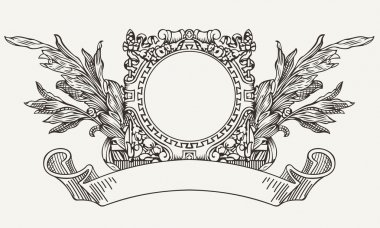 Vintage Ornate Wreath And Scroll Banner