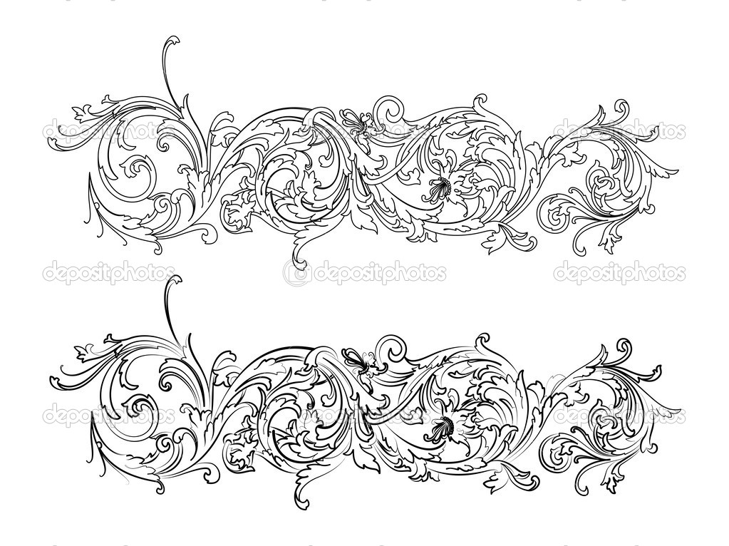 Baroque Border Two Styles Traditional And Calligraphy
