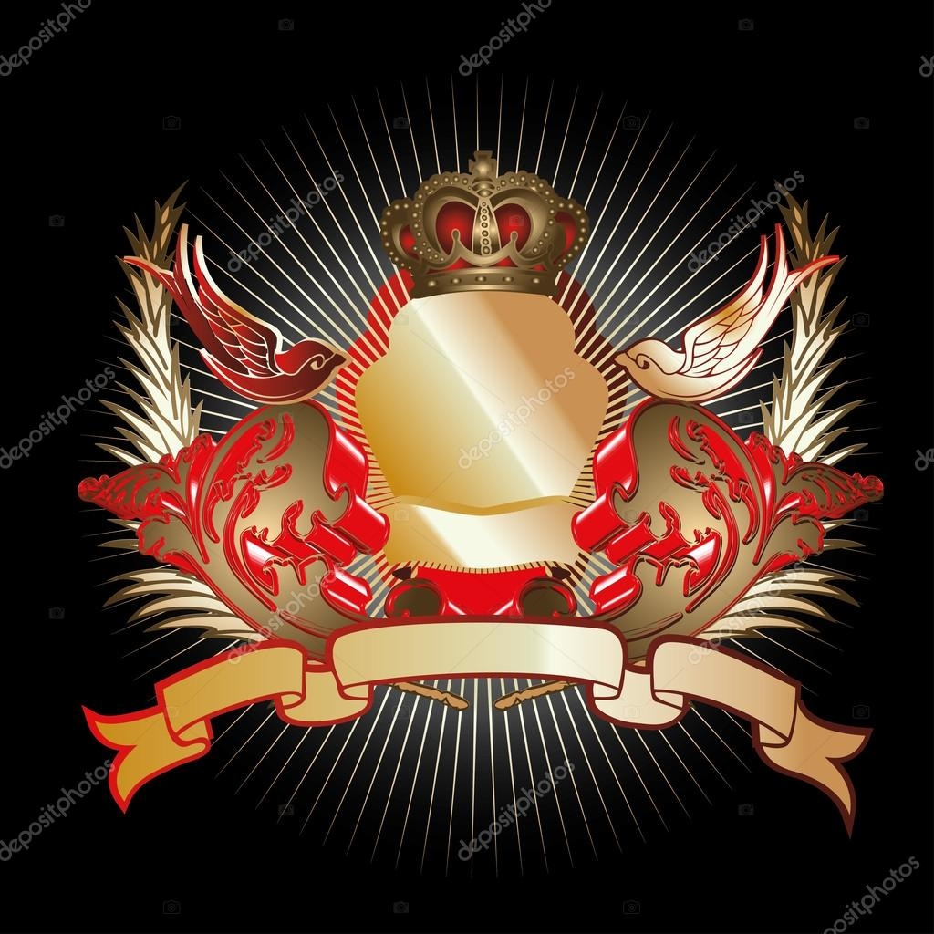 Red Gold 3D Curves Shield — Stock Vector © aakbar #45919747