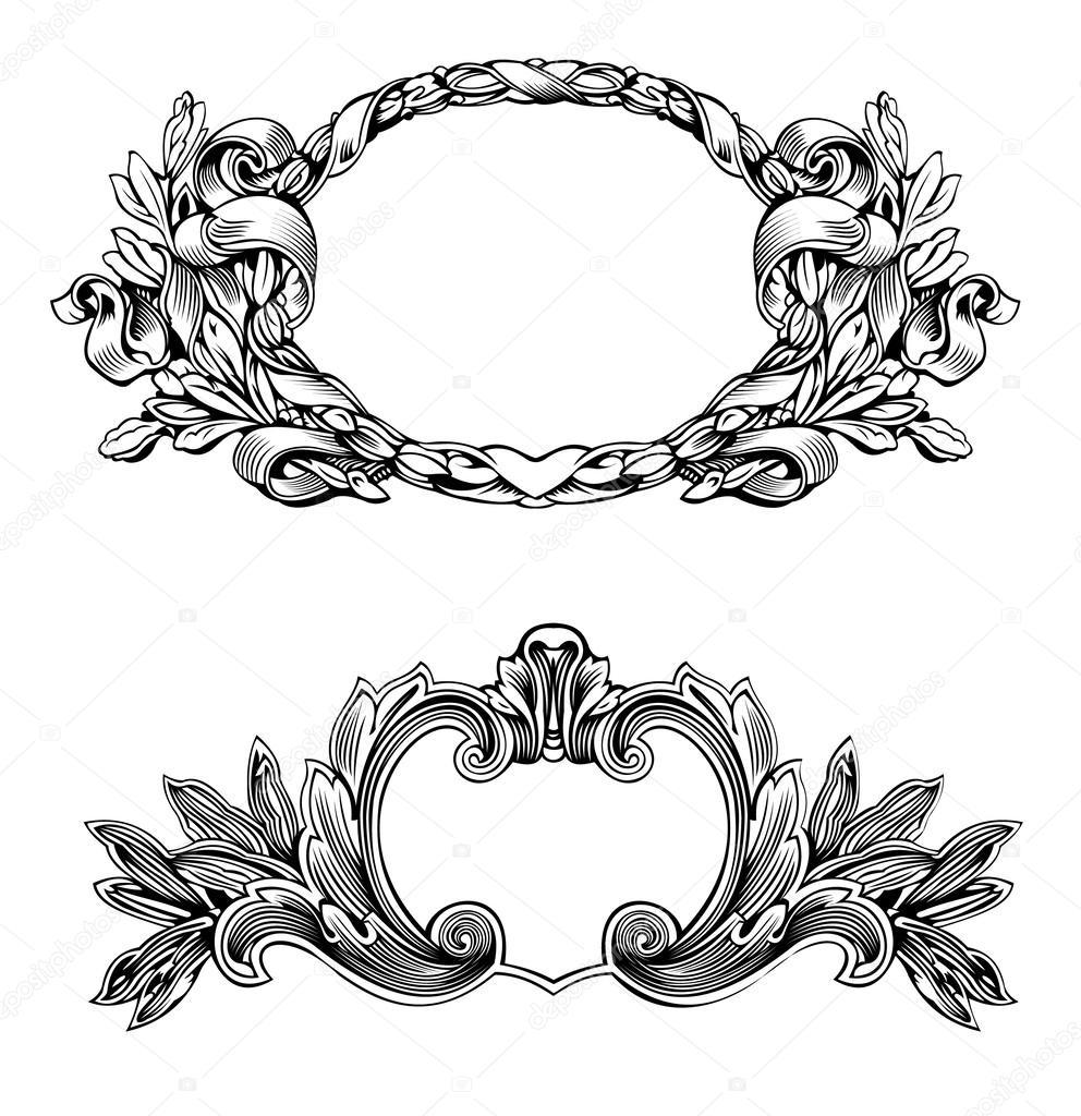 marco antiguo grabado — Vector de stock © aakbar #46324749