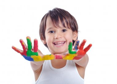 Five year old boy with hands painted in colorful paints ready for hand prints stock vector