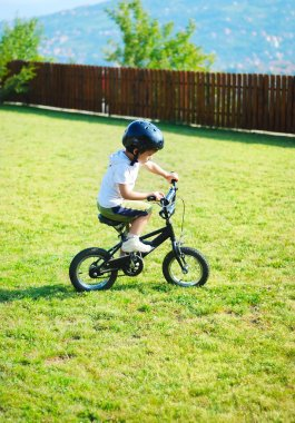 Childhood activity with bike on green meadow
