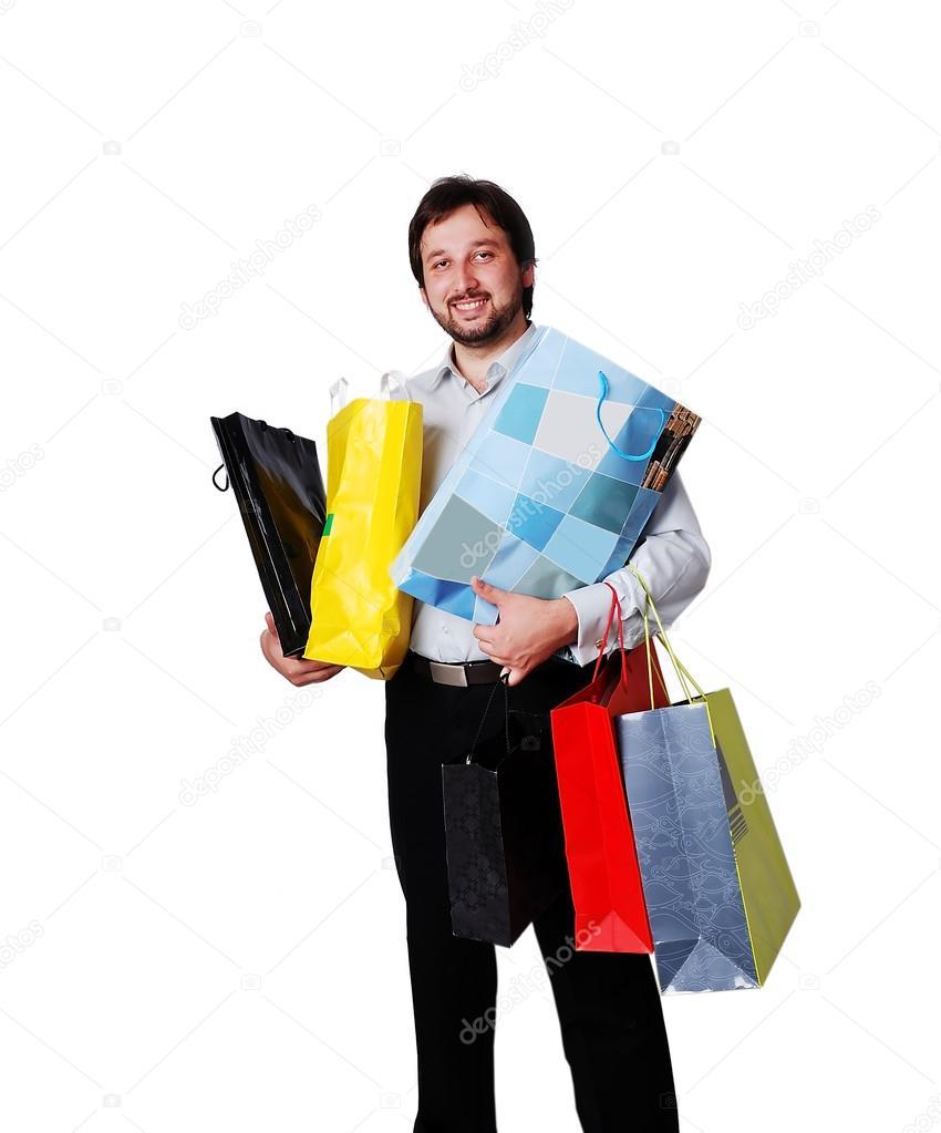 Hombre De Con Compras Bolsas Muchas 8qg8rHxw6