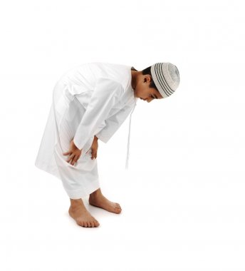 Islamic pray explanation full serie. Arabic child showing complete Muslim movements while praying, salat. Please look for another 15 photos in my portfolio.