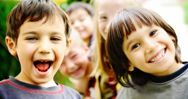 Happiness without limit, happy children together outdoor, faces,