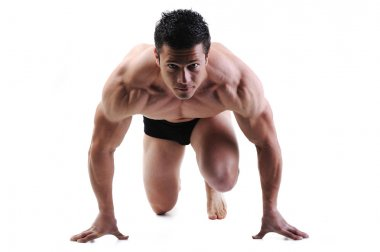 Bodybuilder start running