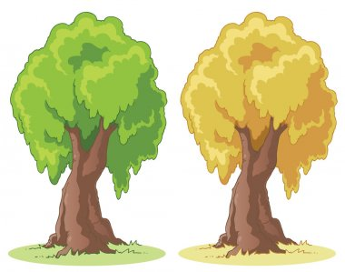 Illustration of a cartoon tree on a patch of grass. stock vector