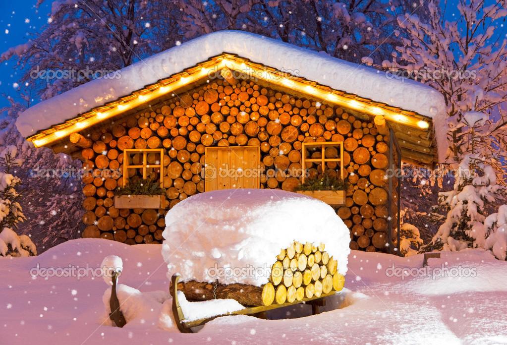ski h tte winter weihnachten stockfoto 29509463. Black Bedroom Furniture Sets. Home Design Ideas