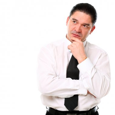 Serious mid aged businessman thinking