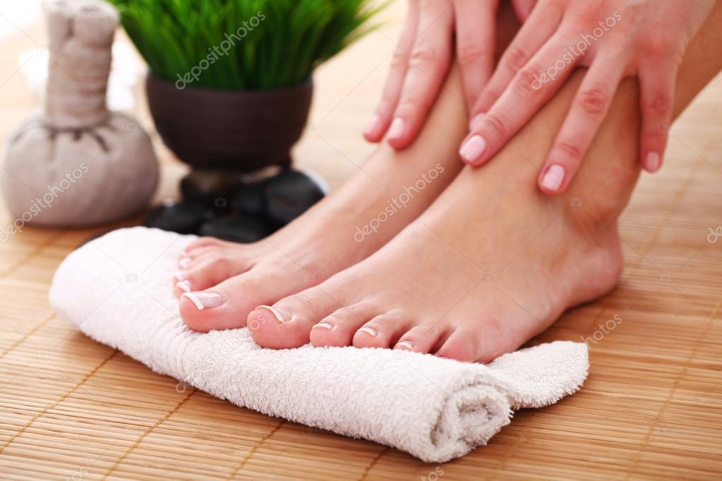 Beauty woman legs after spa