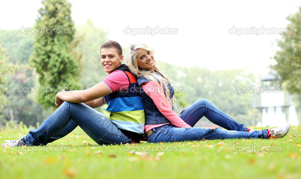 Young couple expressing their feelings at a park
