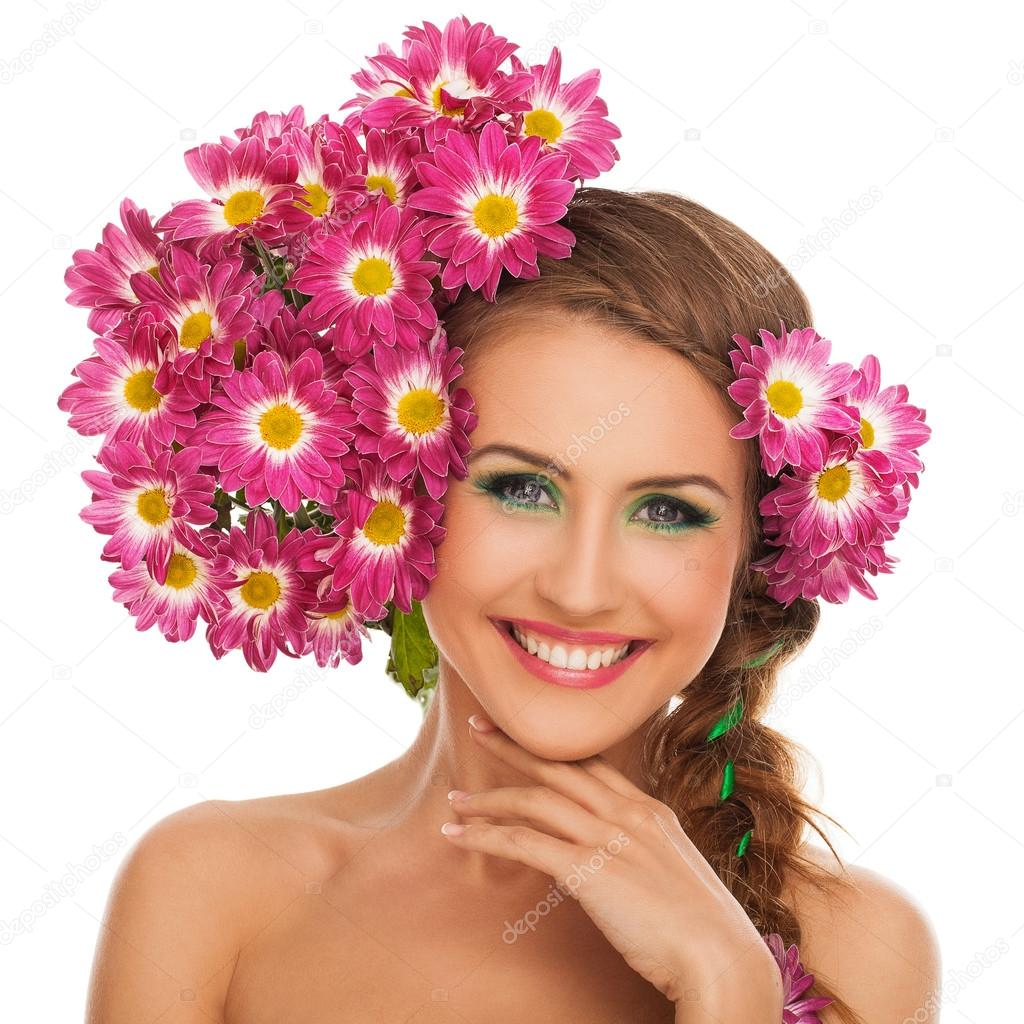 Beautiful woman with flowers in hair stock photo yekophotostudio beautiful woman with flowers in hair stock photo izmirmasajfo Image collections