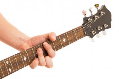 Musician holding electro guitar