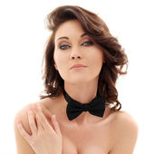 Photo Beautiful woman with a bow tie