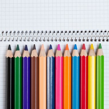 Notepad and colorful pencils