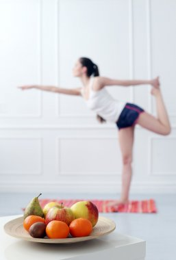 Woman during yoga exercise