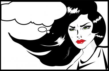 Vintage Headshot of a young and angry woman on background. Angry woman. Pop art comic style
