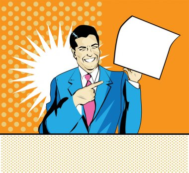 Happy advertising man with sheet of paper in a hand in pop art comic style