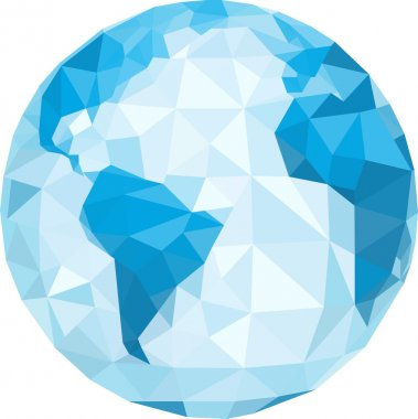 Polygonal globe. Vector illustration