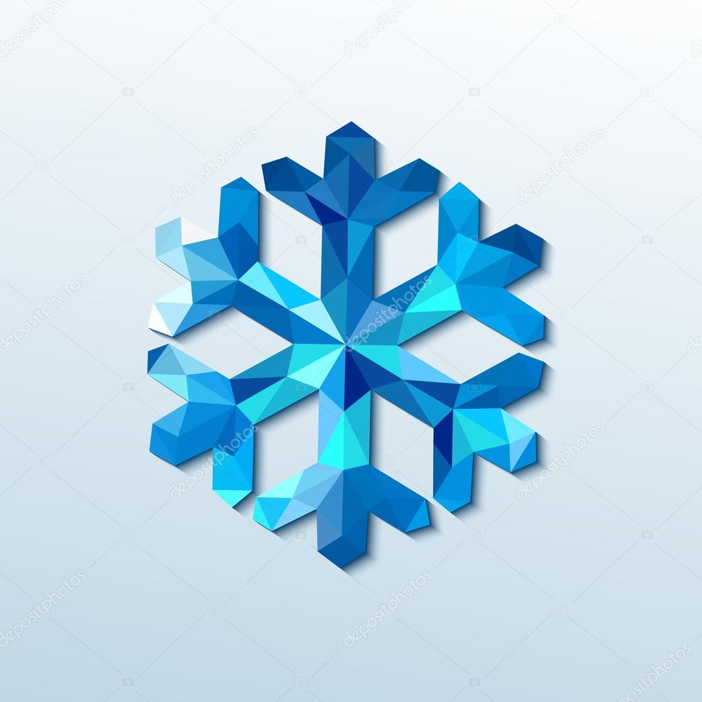 Polygonal christmas snowflake. Vector illustration