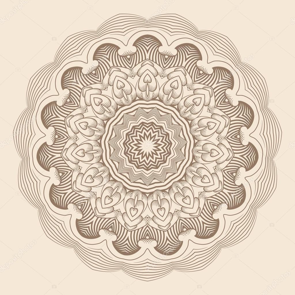 zeitgenössische Deckchen runden Spitzen Blumenmuster — Stockvektor ...